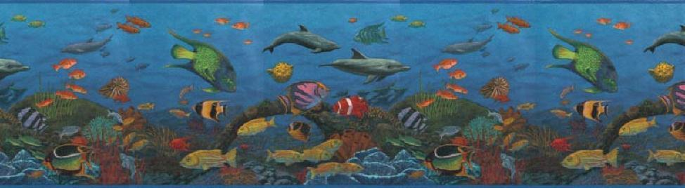 Tropical Fish Dolphins Underwater Sea Coral Blue Ocean Bathroom Border 974x268
