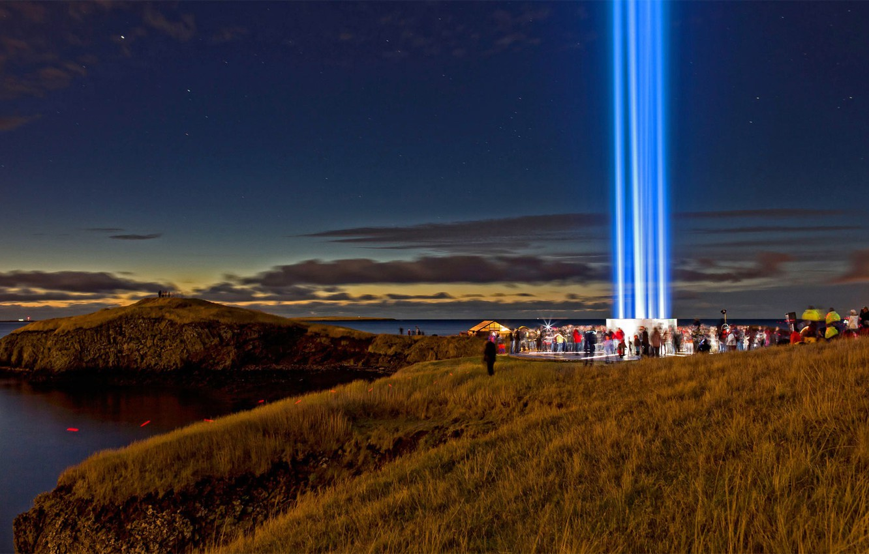 Wallpaper Iceland Reykjavik Imagine Peace Tower The 1332x850