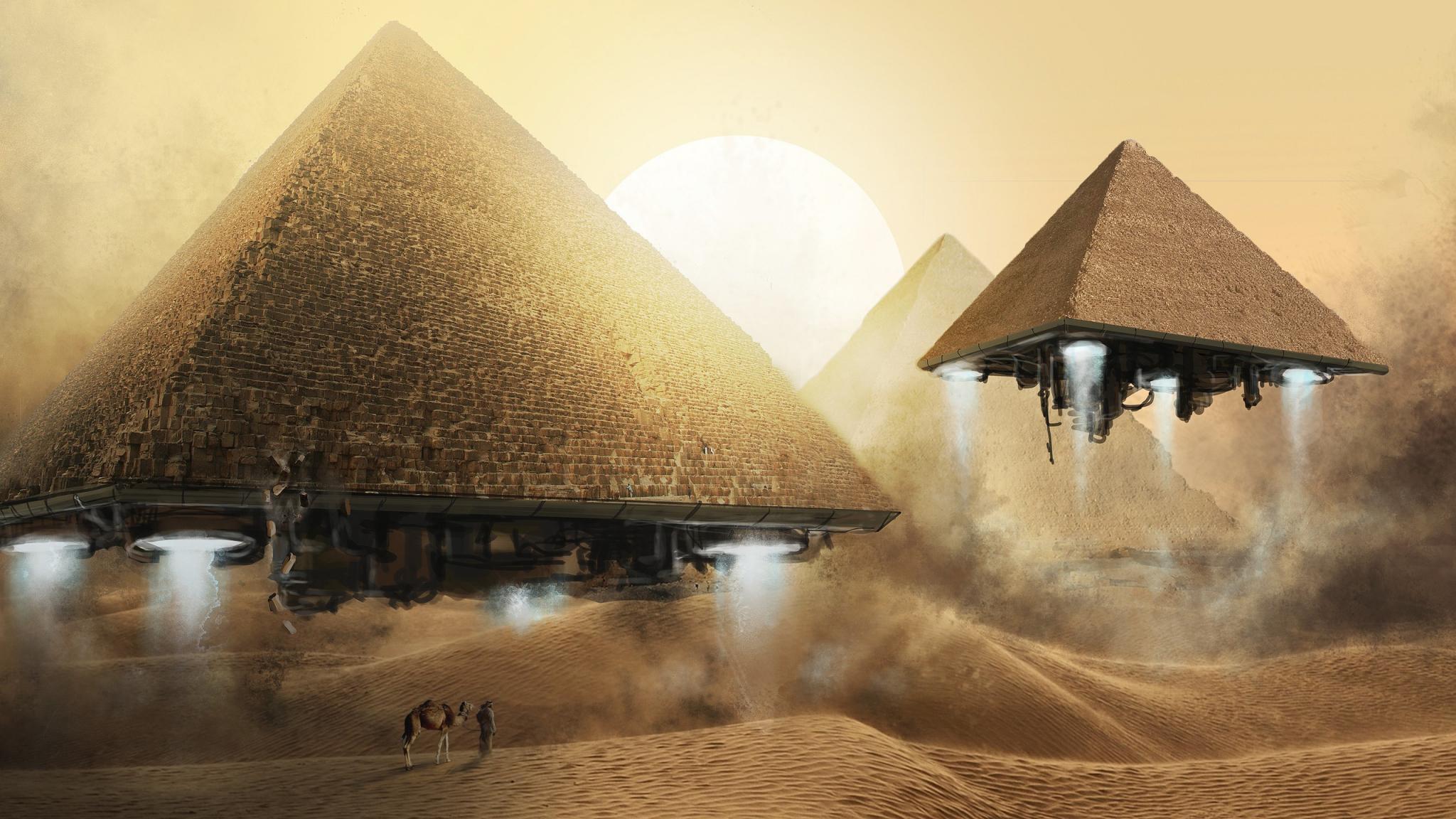 Pyramids Fantasy   Desktop Wallpaper 2048x1152