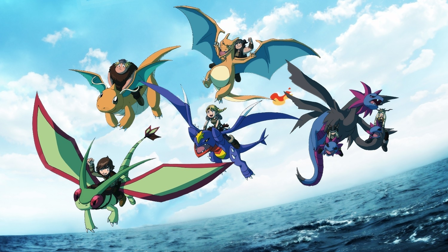 Pokemon how to train your dragon flygon charizard dragonite hiccup 1500x844