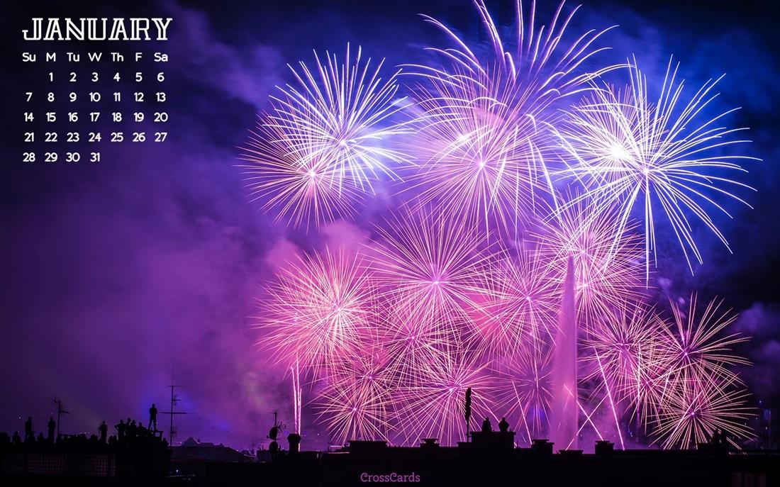 January 2018   Fireworks Desktop Calendar  January 1100x687