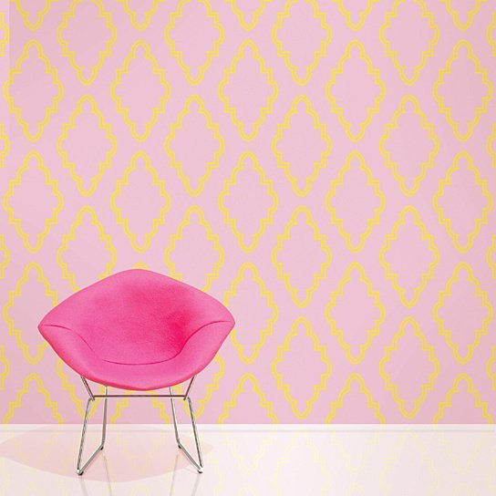 Buy Quatrefoil PinkYellow Removable WallPaper by WallCandy Arts on 544x544