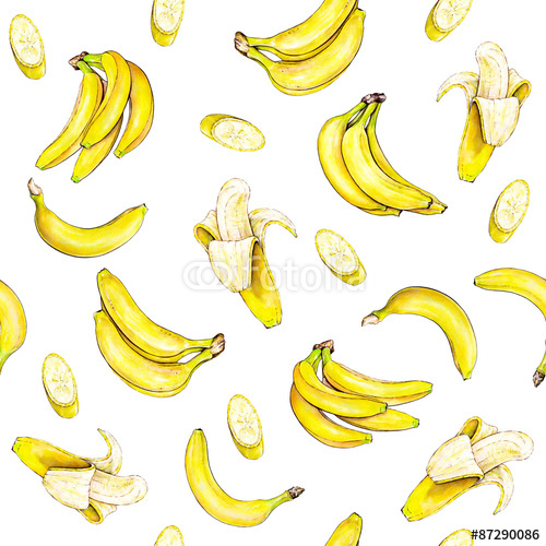 Bananas on white background Seamless pattern Watercolor illustration 500x500