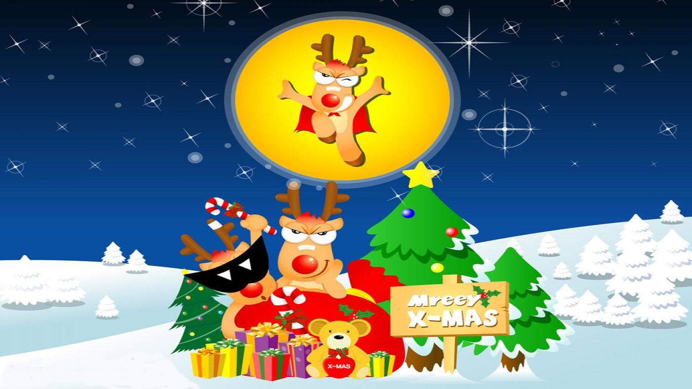 Xmas Cartoon Wallpaper photos Download Funny Christmas Wallpaper 1366x768