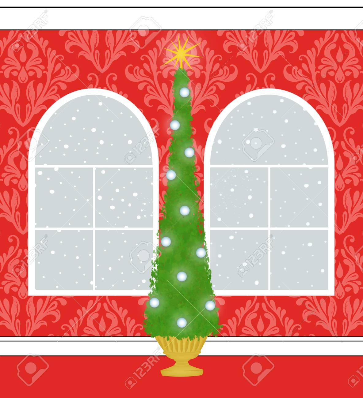 Christmas Tree In A Room With Red Damask Wallpaper And Palladian 1184x1300