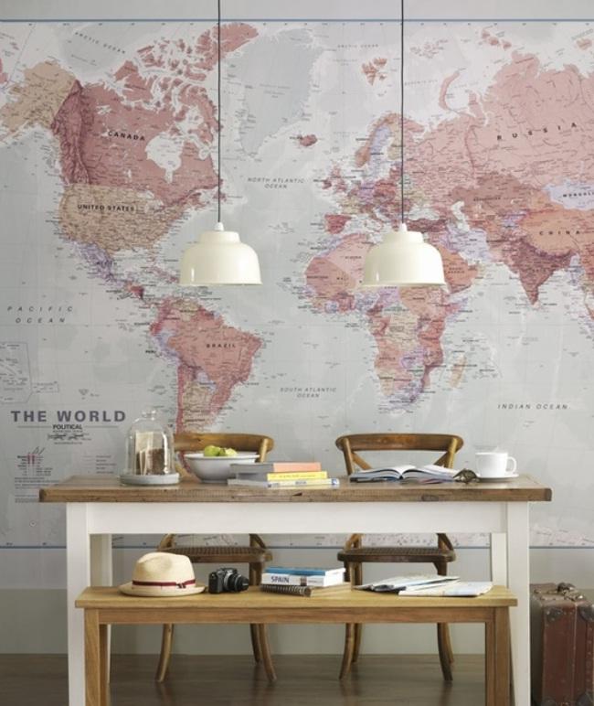 Ideas Wall Decor Design with World Map Wallpaper   nijihomedesign 650x772
