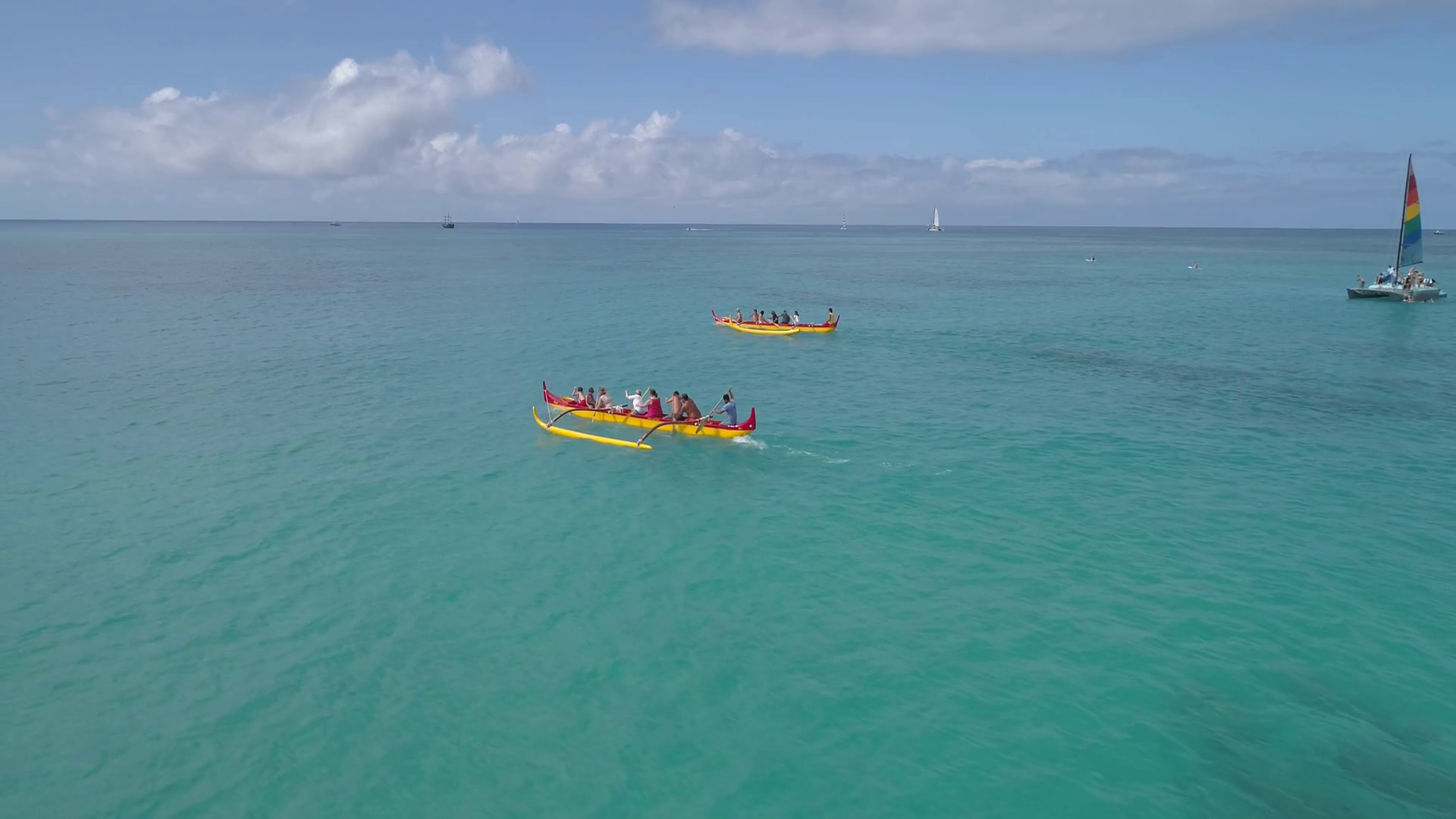 Slow Motion Aerial Video Of Outrigger Canoes In Waikiki Hawaii 1920x1080