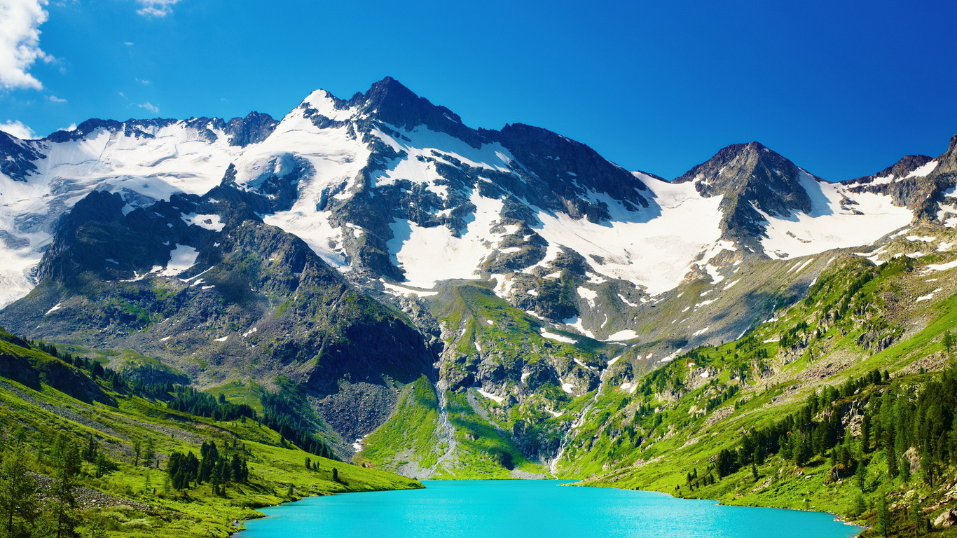 Wallpaper Bergsee Schnee Natur Groe Picture 1366x768