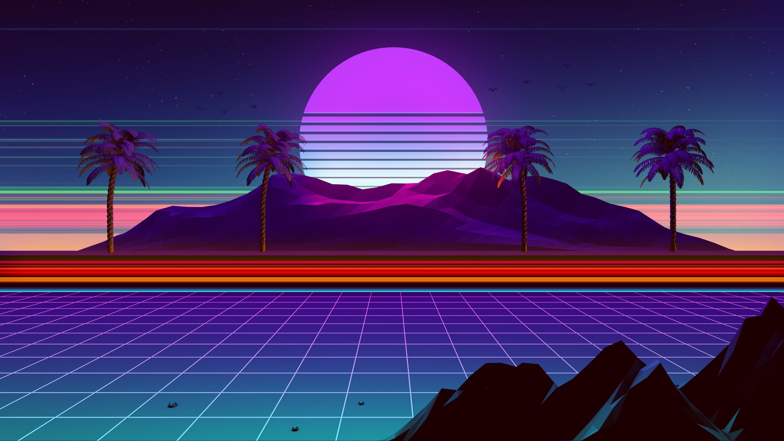 2560x1440 Synthwave And Retrowave 1440P Resolution Wallpaper HD 2560x1440