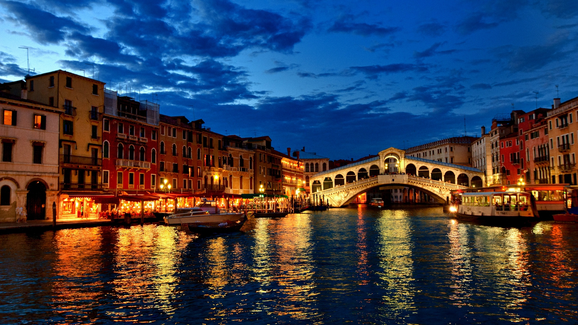 Download wallpaper 1920x1080 venice canal gondola boat night 1920x1080
