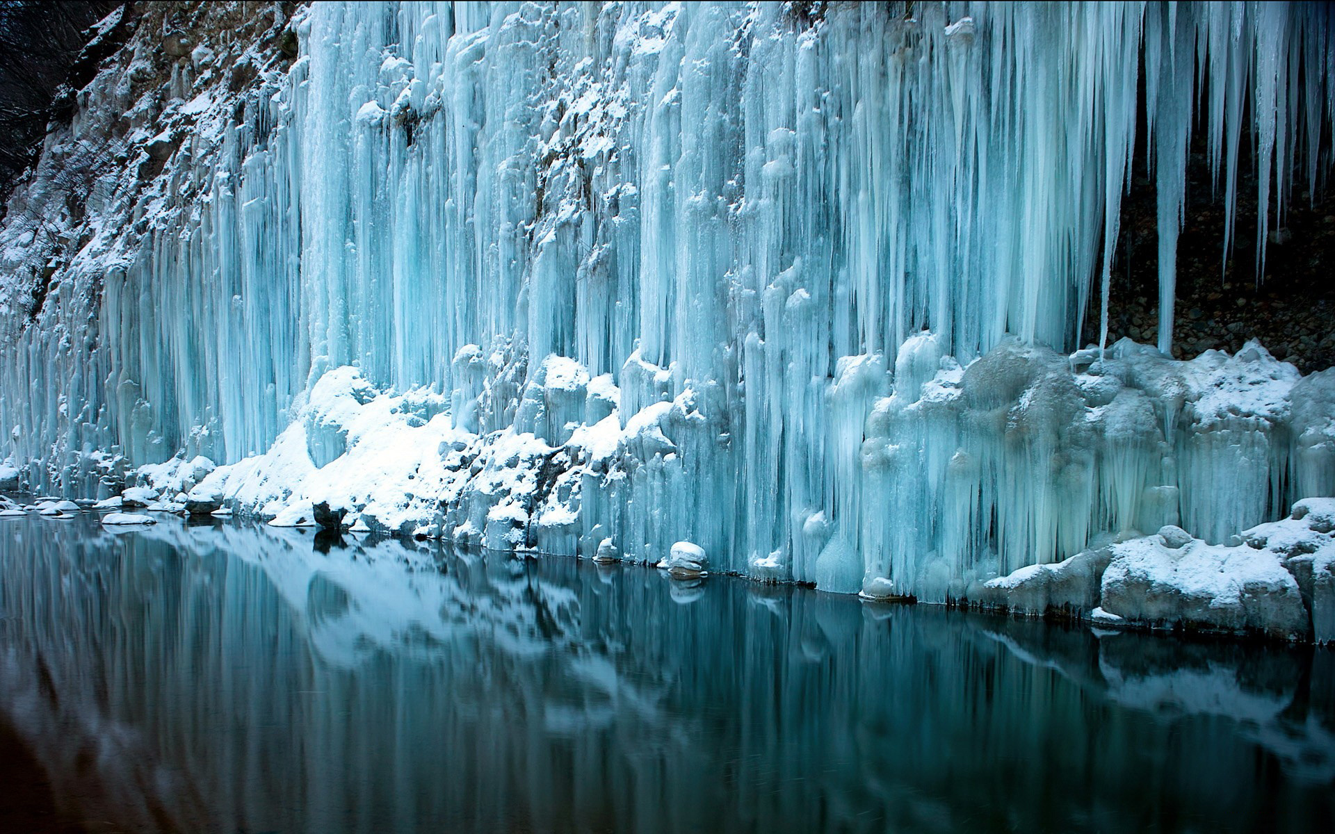 waterfall water reflection rivers freeze frozen snow winter wallpaper 1920x1200