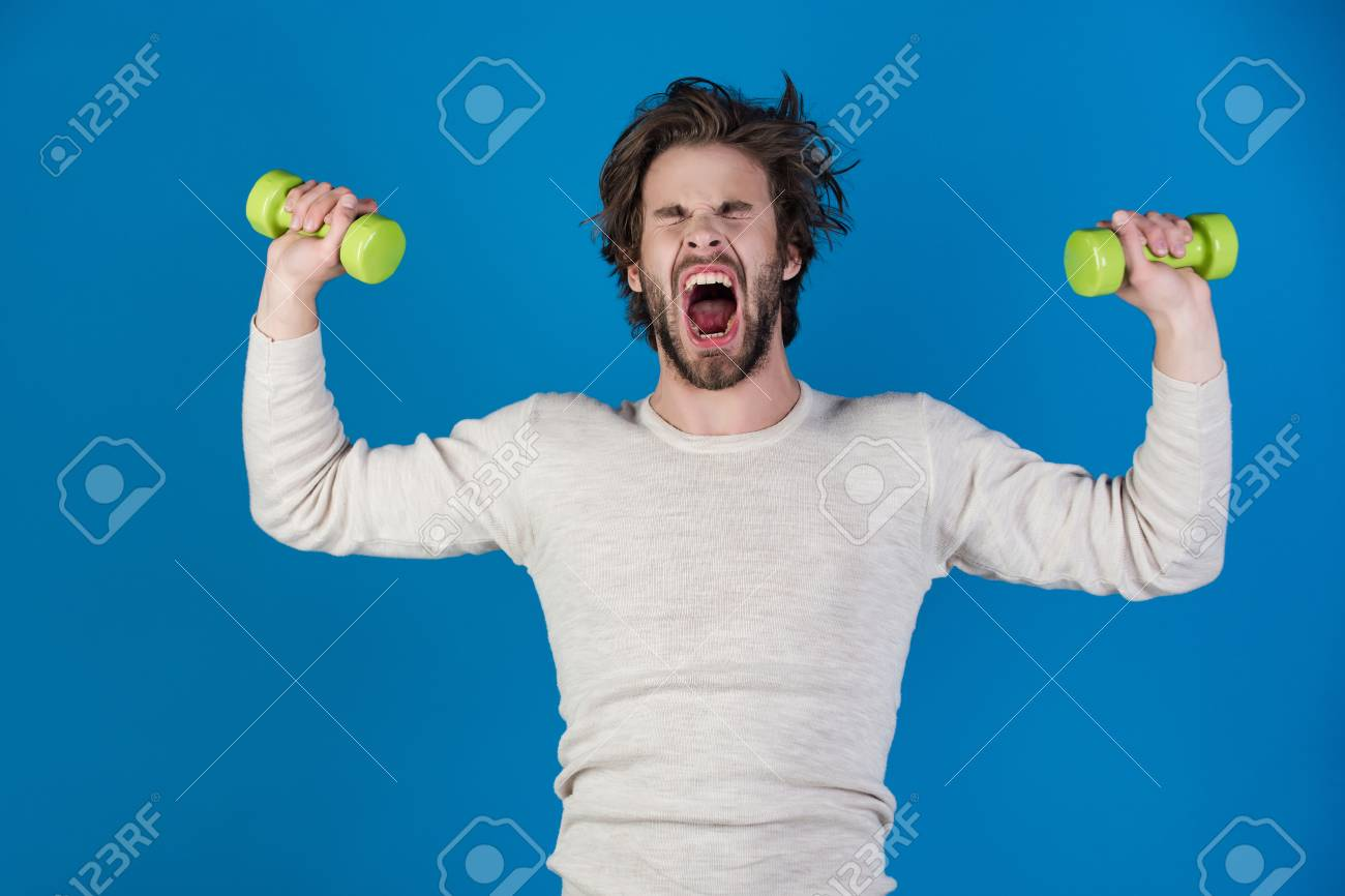 Sportsman Shouting Man On Blue Background Athlete In Underwear 1300x866
