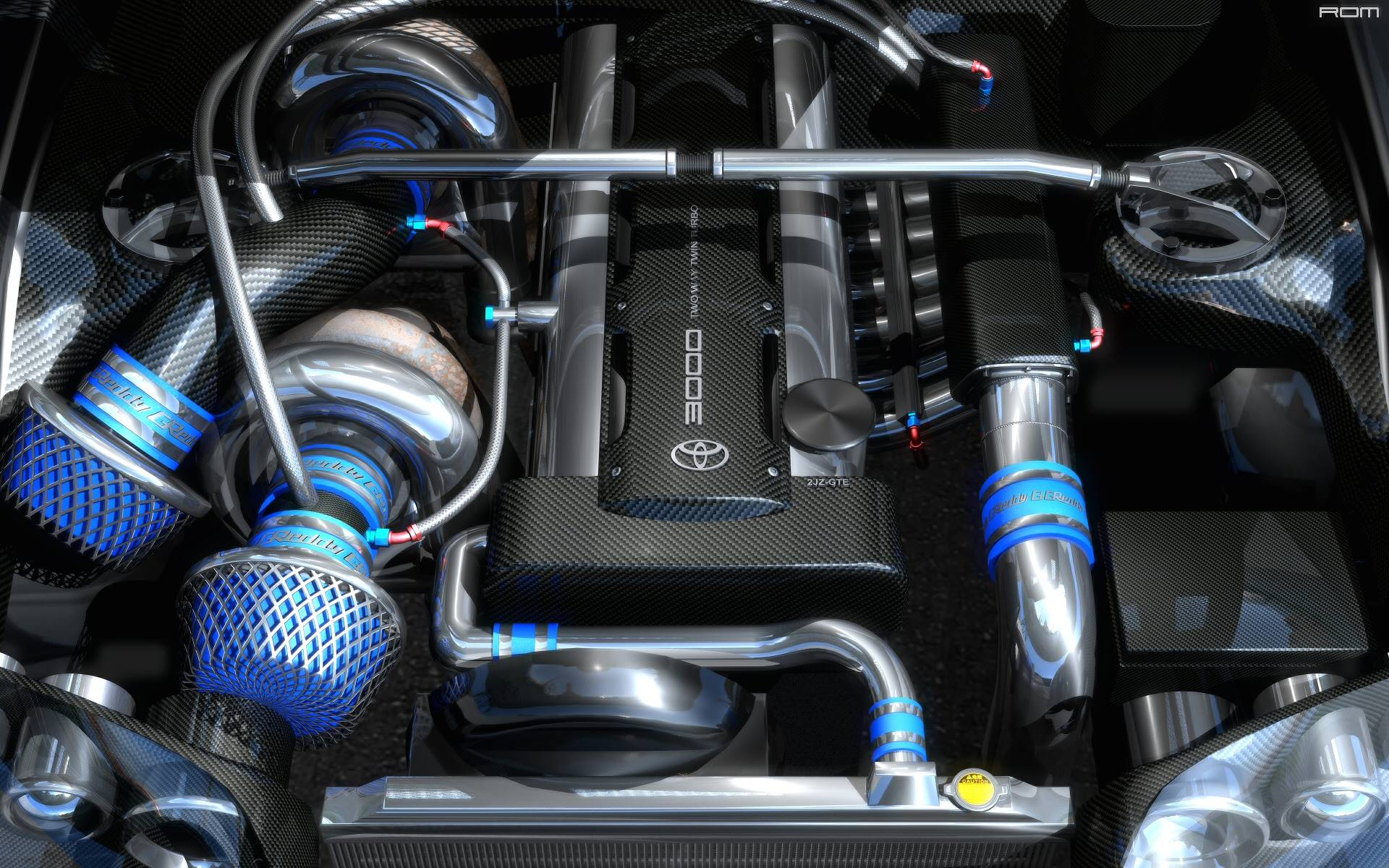 Twin Turbo Toyota Supra Engine 2JZ 1920x1200 wallpapers 1920x1200