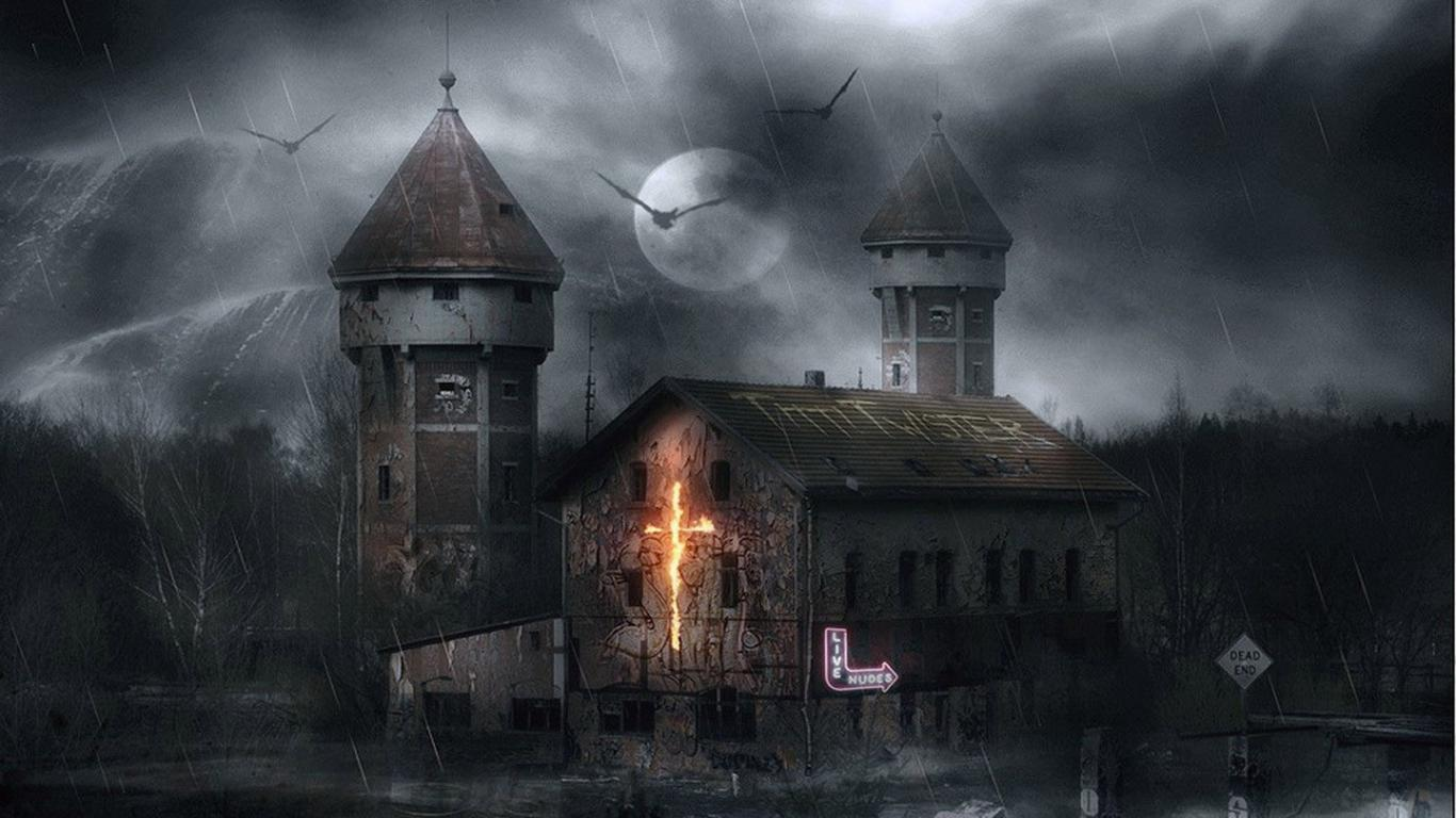 Haunted House in Thunderstorm Day HD Wallpaper HD Wallpapers High 1366x768