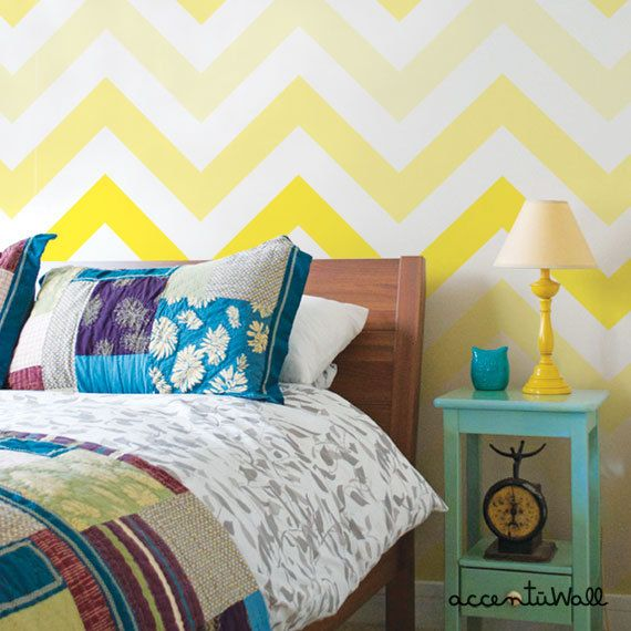Chevron Yellow Peel Stick Fabric Wallpaper Repositionable   would 570x570