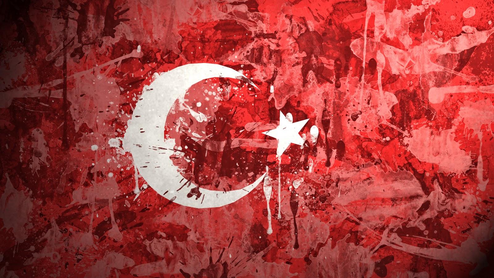 wallpapers hd turkey flag paint drawn hd wallpaper fond d cran 1600x900