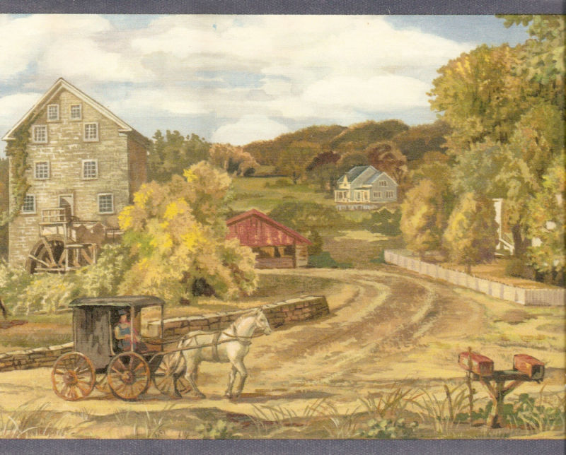 AMISH HORSE CARRIAGE COUNTRY Wallpaper bordeR Wall 800x644