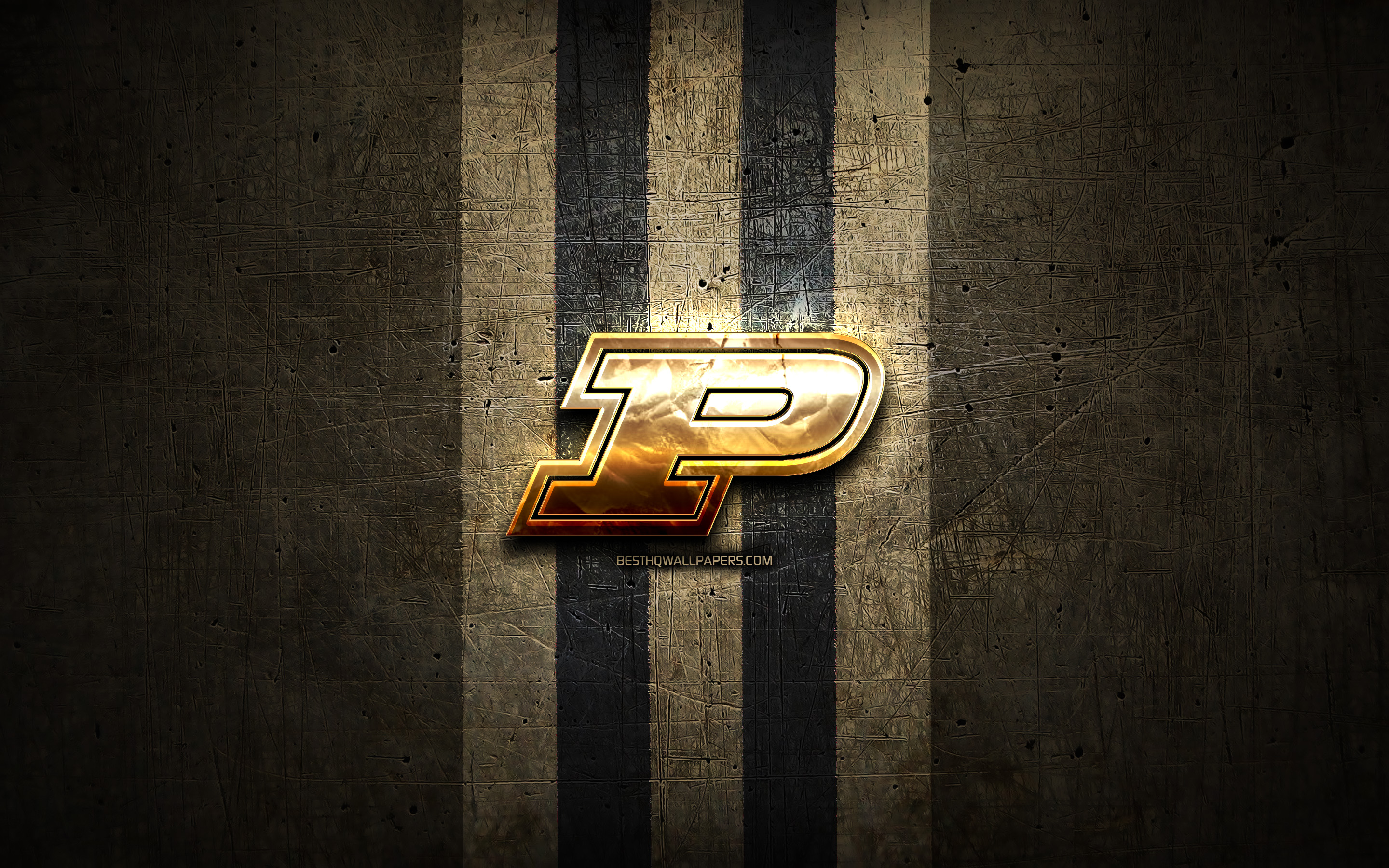 Download wallpapers Purdue Boilermakers golden logo NCAA brown 2880x1800