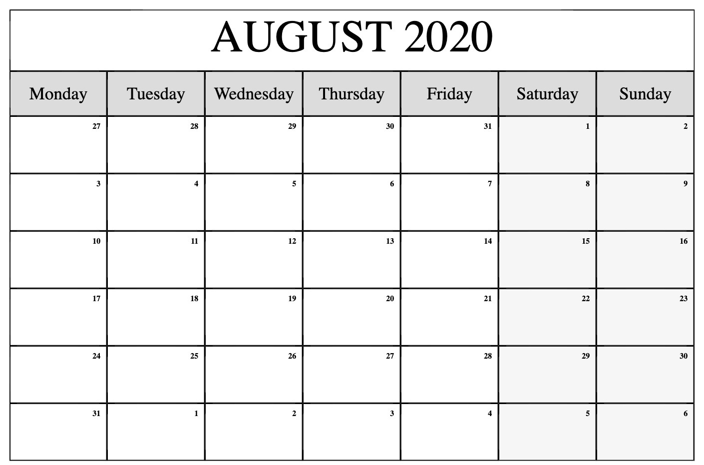 August 2020 Calendar PDF Word Excel Printable Template 1410x931