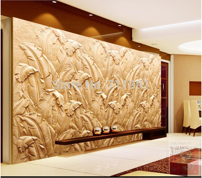 Custom modern wallpaper banana leaf mural sandstone relief wallpaper 654x578