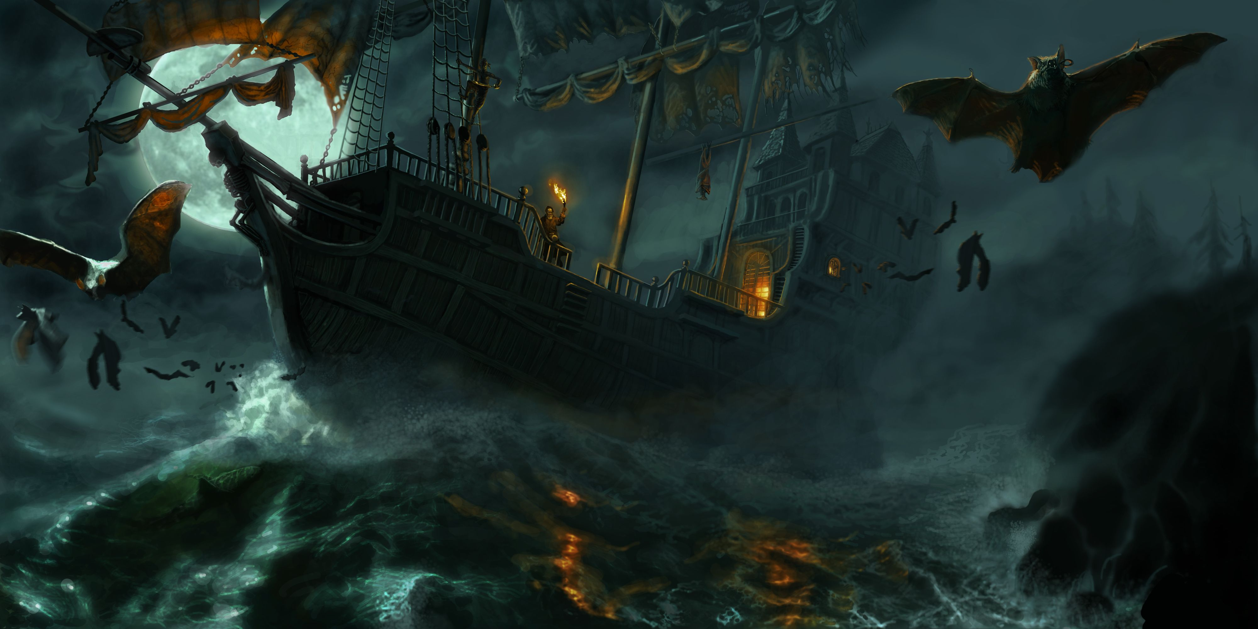 Vampirates Picture 2d illustration fantasy ship moon 4000x2000