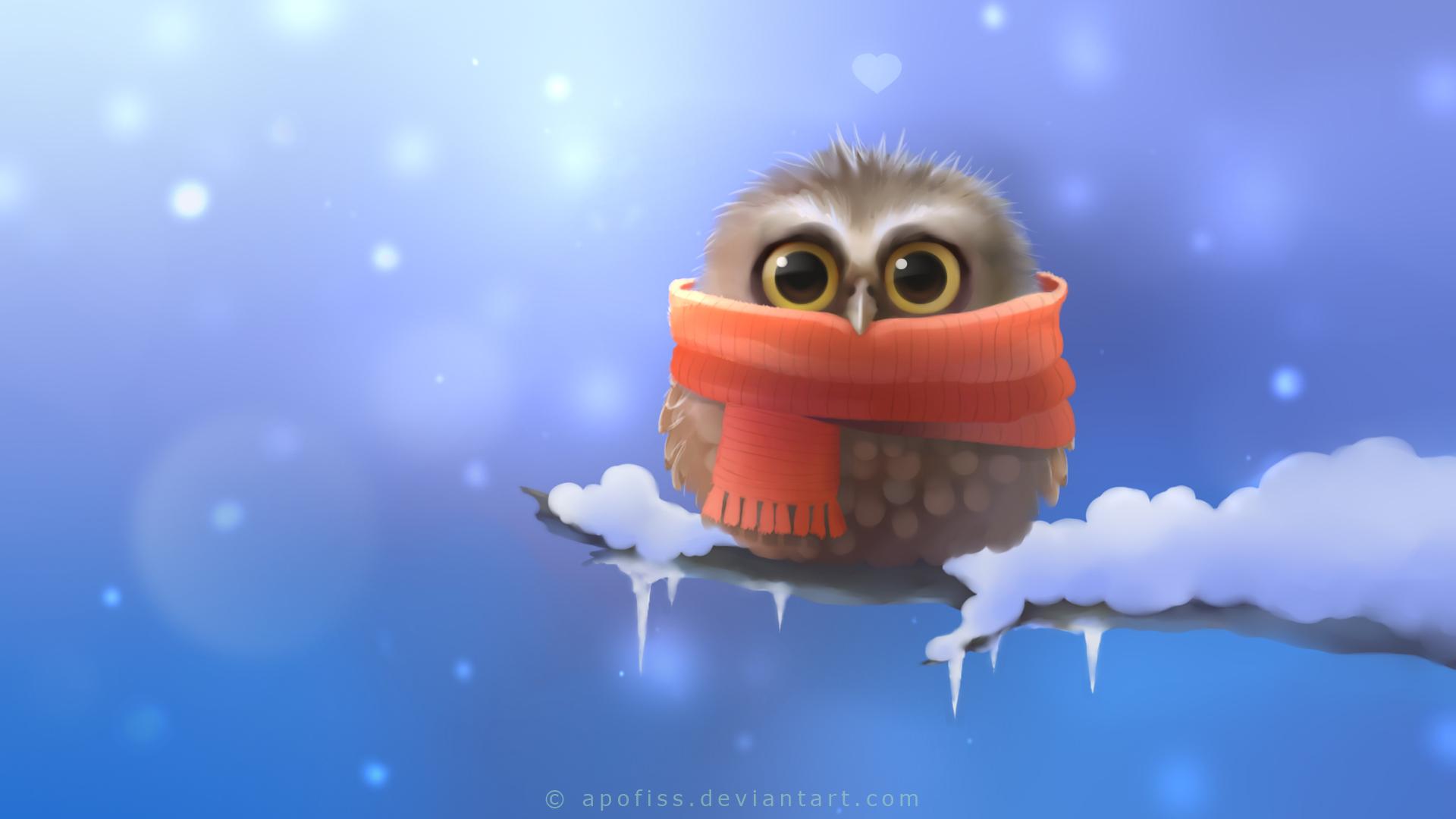 Owl Bird Snow Winter Drawing Scarf cartoon cute eyes pov wallpaper 1920x1080