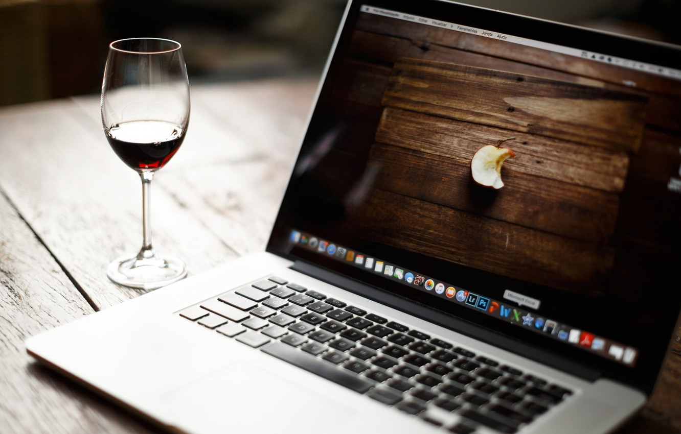 Wallpaper creative wine sign Wallpaper glass Apple laptop 1332x850