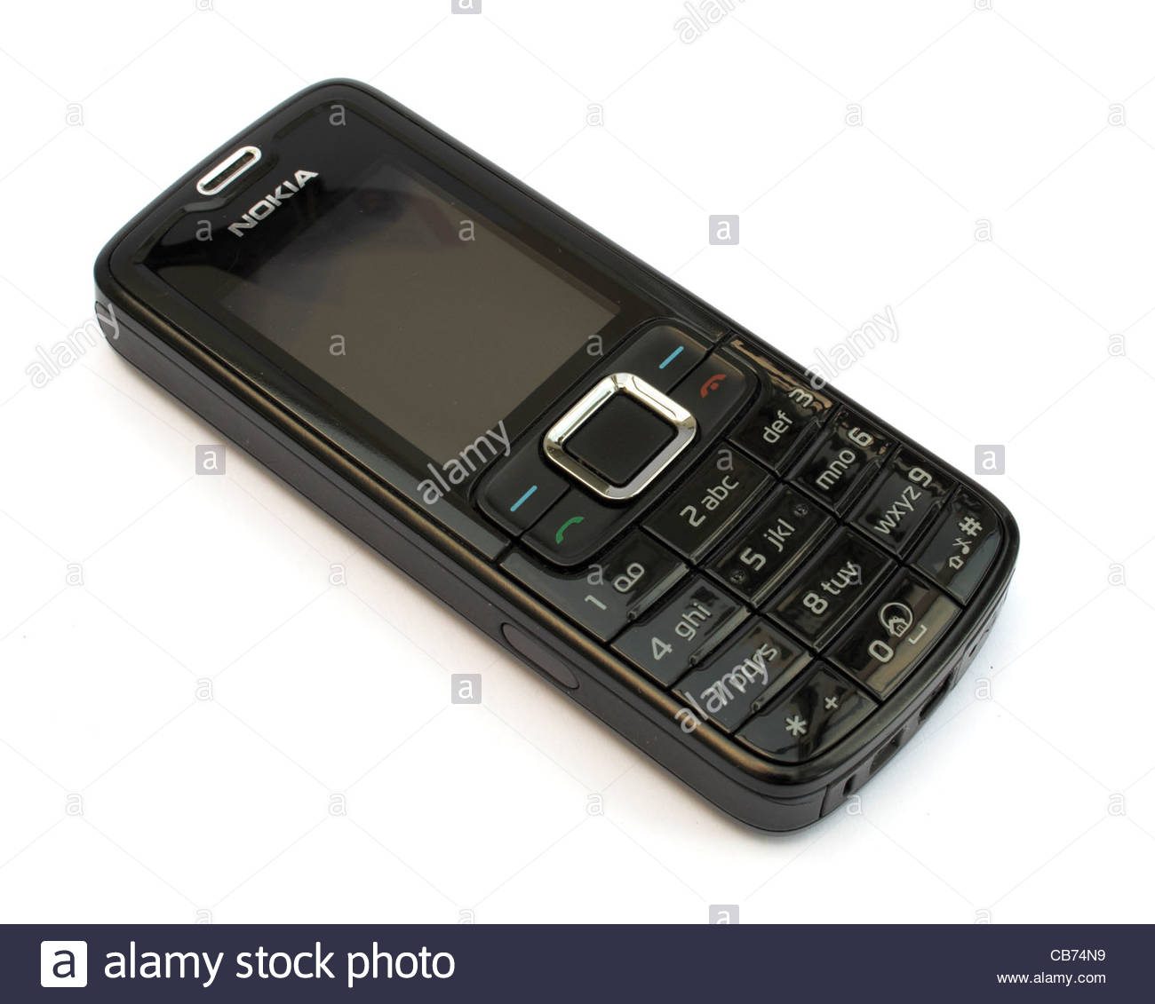 A simple Nokia mobile phone on a white background Stock Photo 1300x1131