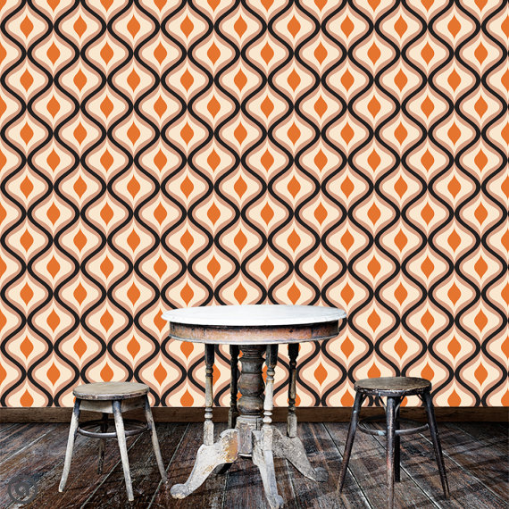Removable Wallpaper Retro   Groovy  Peel Stick Self Adhesive Fabric 570x570