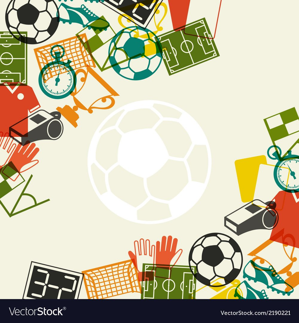 Sports background with soccer football flat icons Vector Image 1000x1080