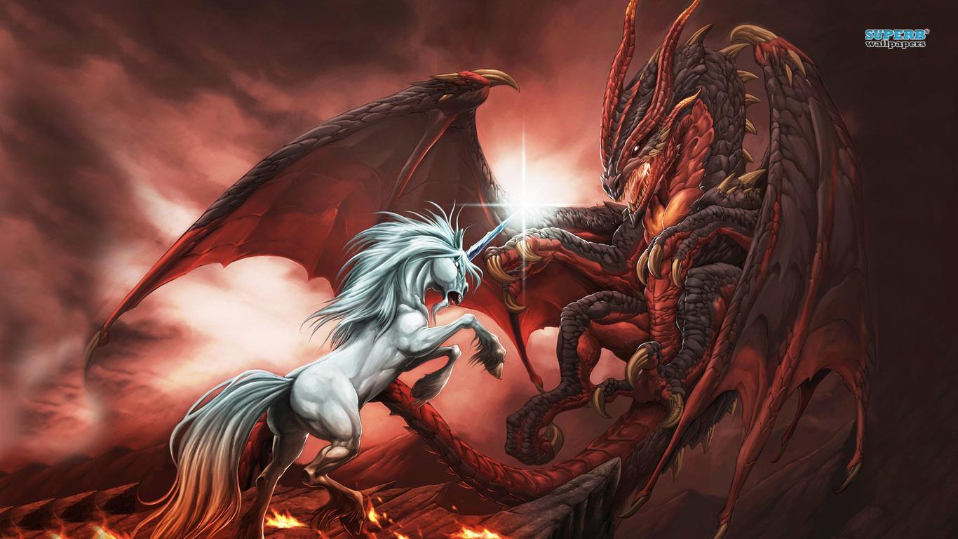Unicorn Vs Dragon   1366x768 iWallHD   Wallpaper HD 1366x768