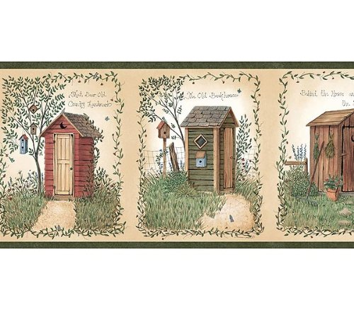 christmas wallpaper Country Outhouse Lodge Bathroom Wallpaper Border 500x438