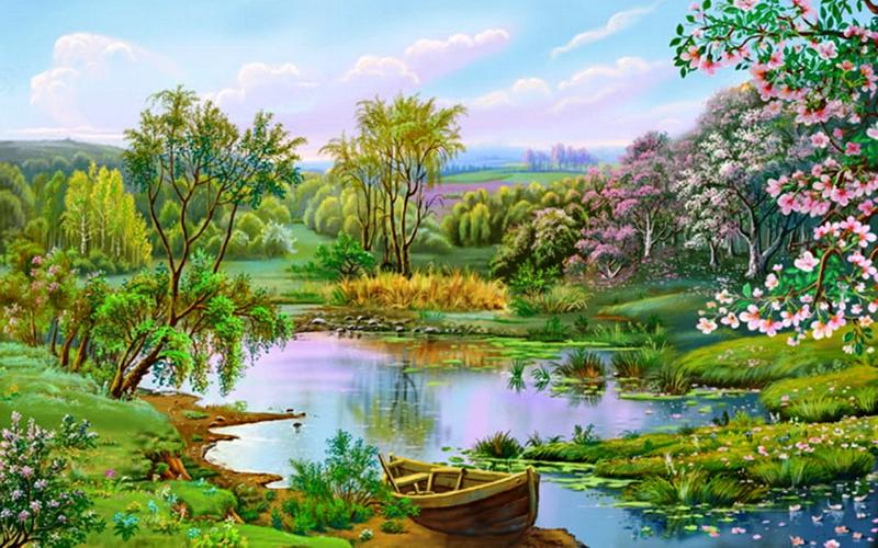boat flower Lovely garden Nature Lakes HD Desktop Wallpaper 800x500