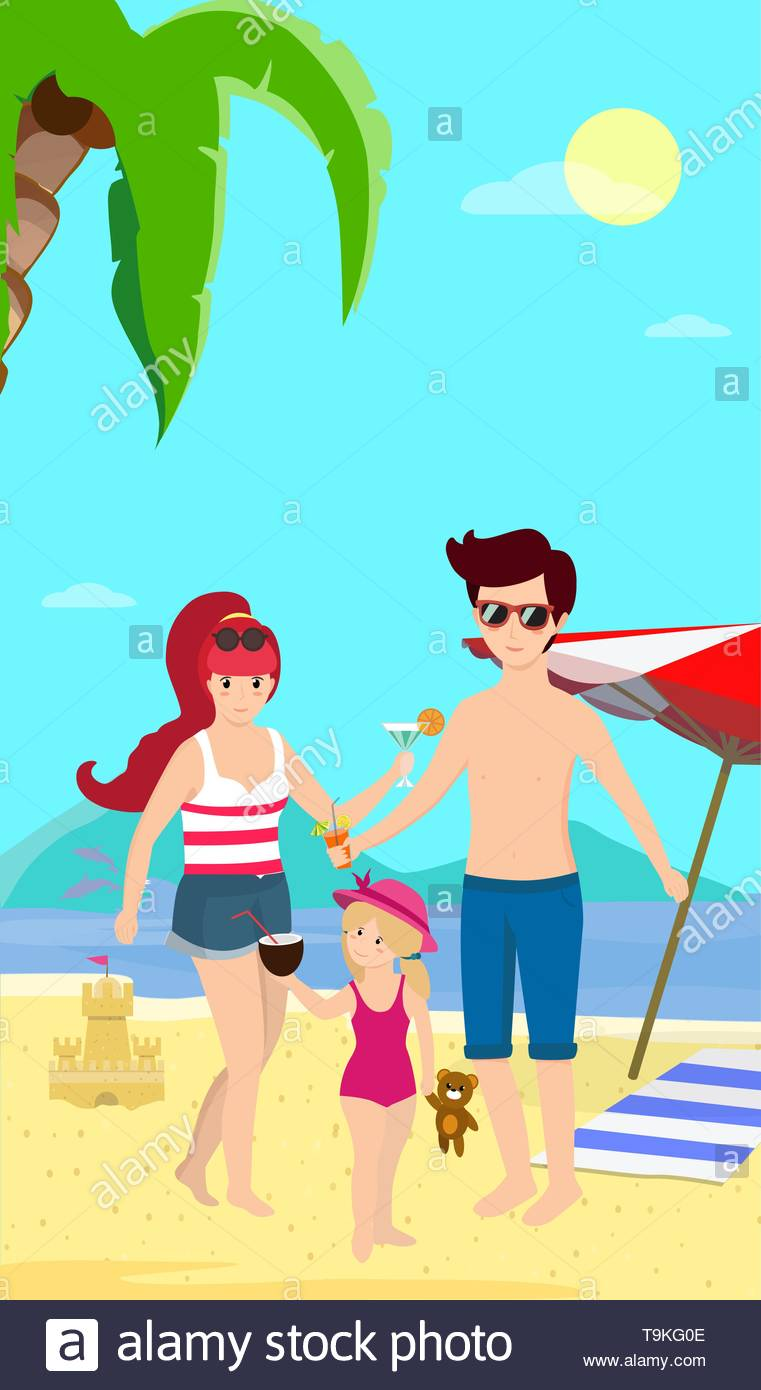 Happy Family at Beach Smiling Parents with Child Stand on Sand 761x1390