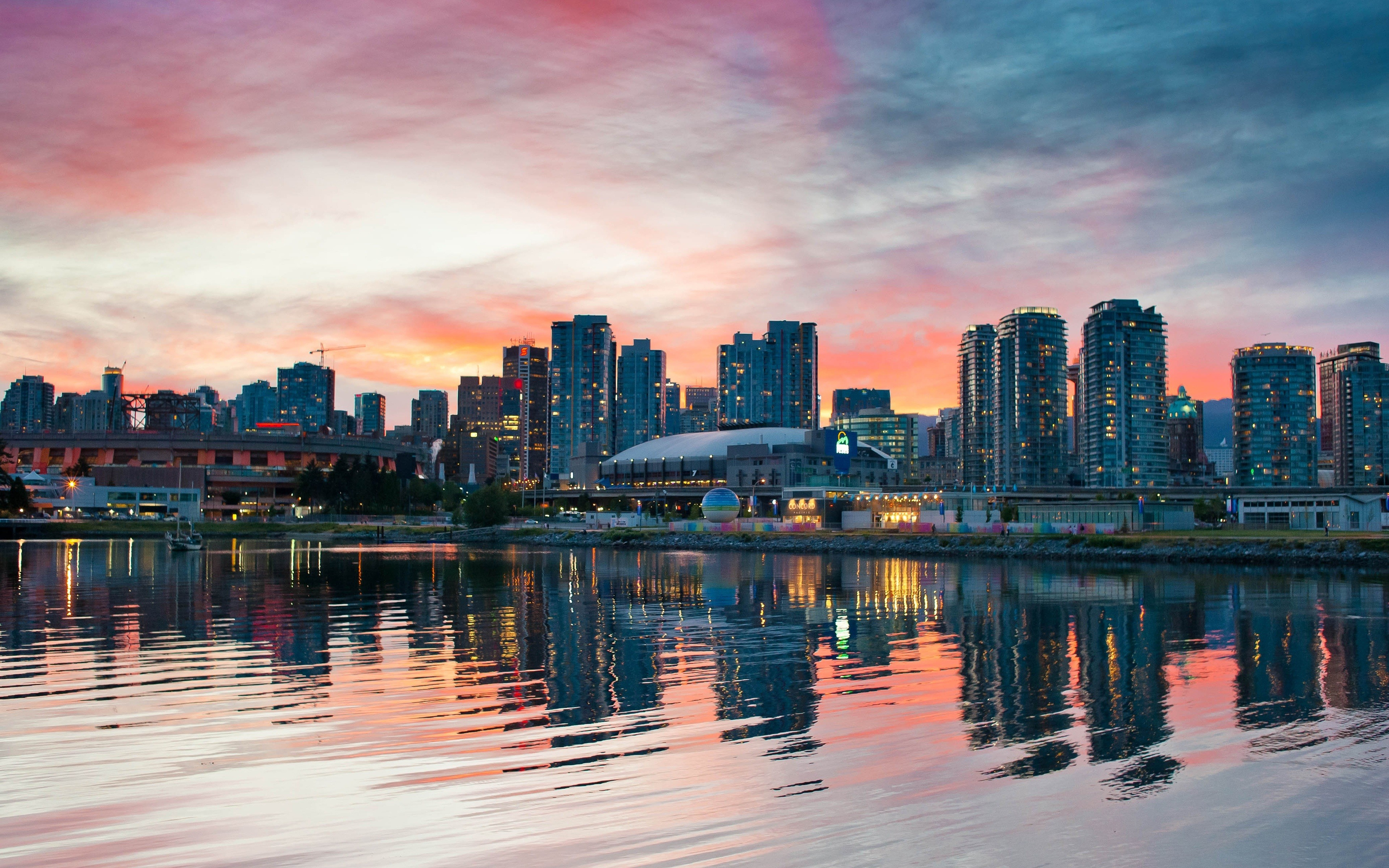 Sunset cityscapes vancouver skyscapes wallpaper 3840x2400 7934 3840x2400