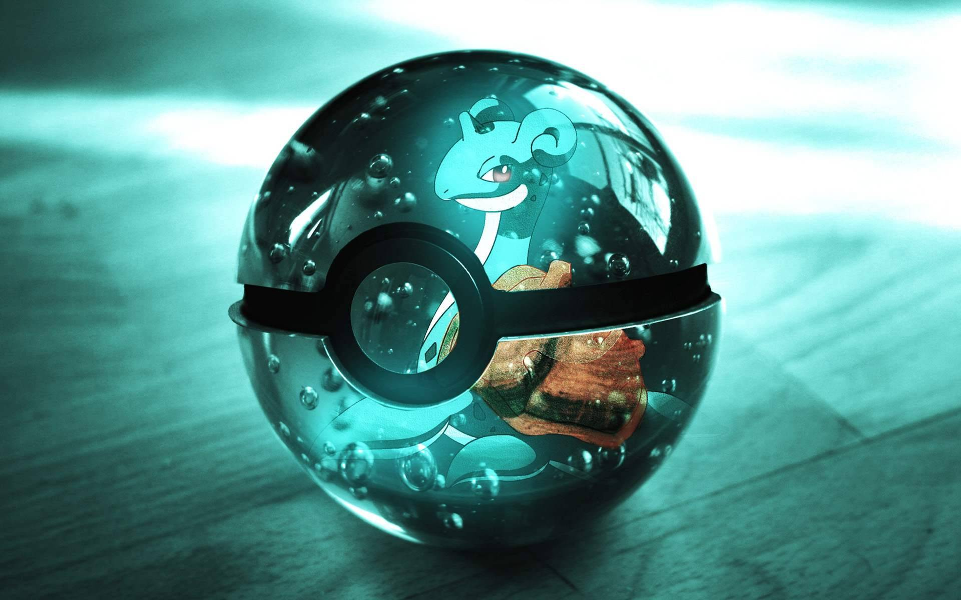 Shiny Pokeball Shiny Pokeball with Lapras on it 1920x1200