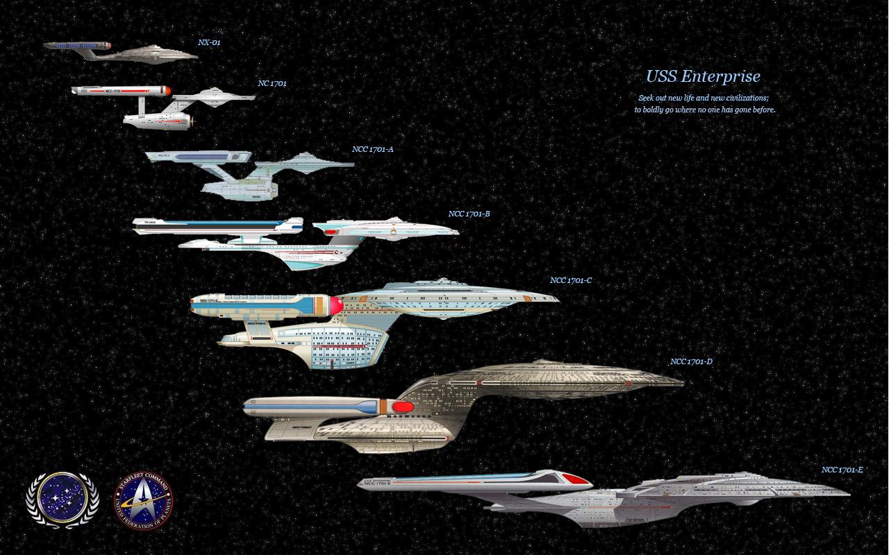 USS Enterprise evolution Star Trek Pinterest 1280x800