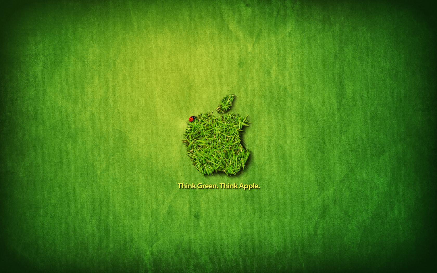 Apple Think Green Background HD Desktop Wallpaper   Green Photo 1680x1050