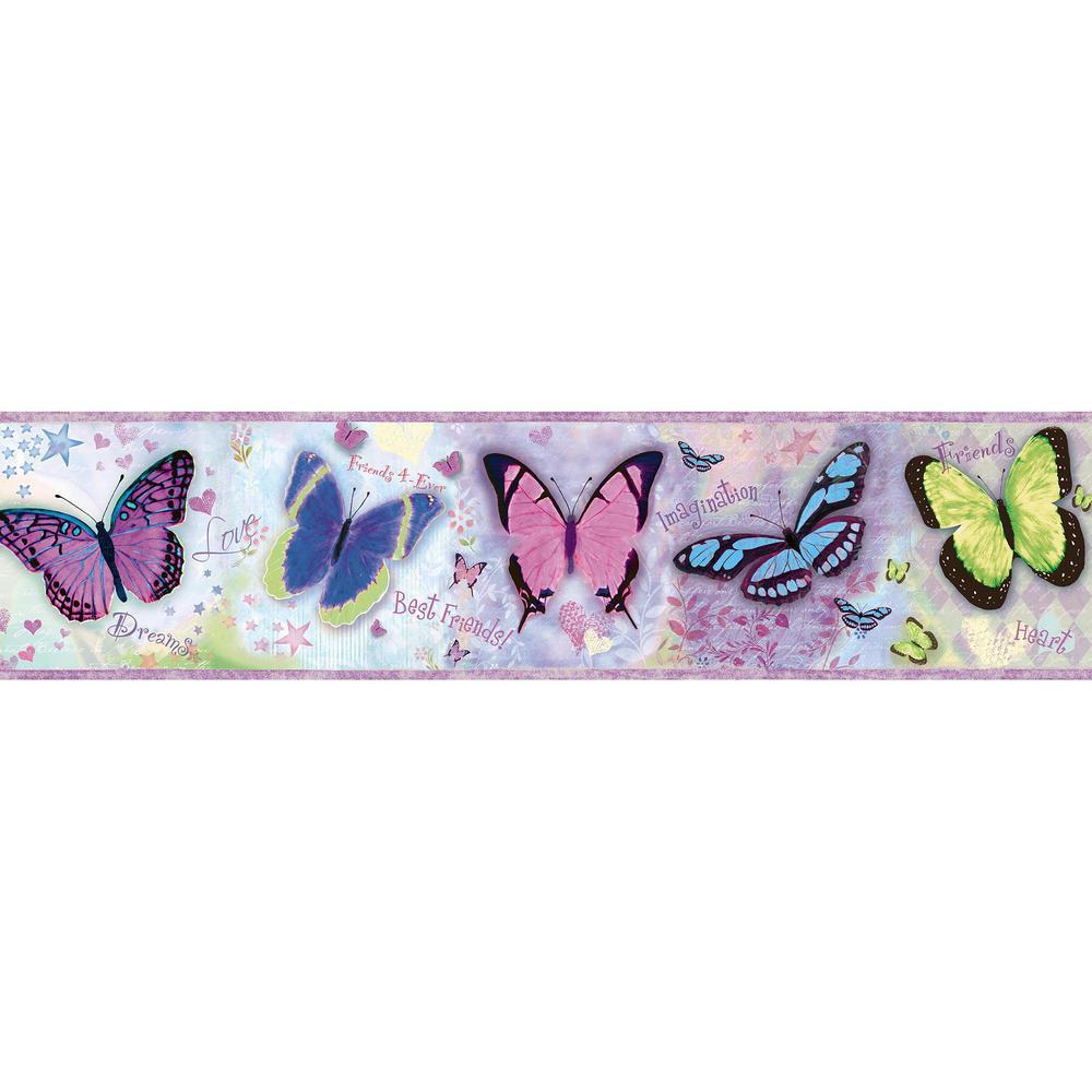 Chesapeake Kingston Purple Buff Butterflies Toss Wallpaper Border 1000x1000