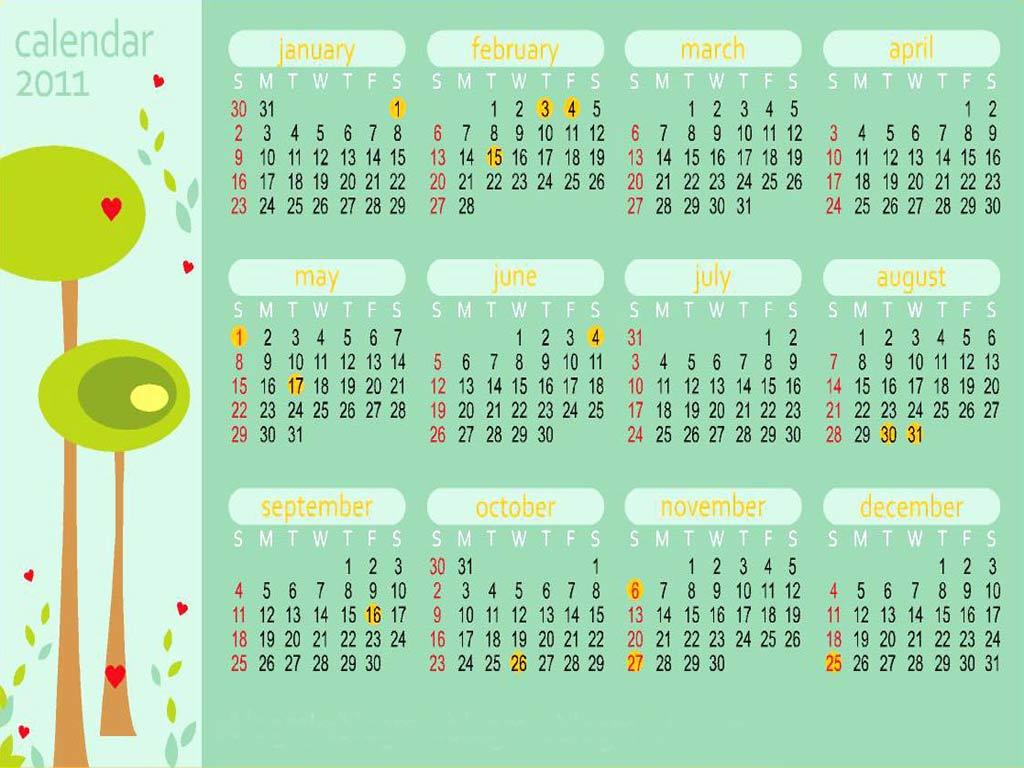 Calendar 2011 Wallpaper Wallpapers 1024x768