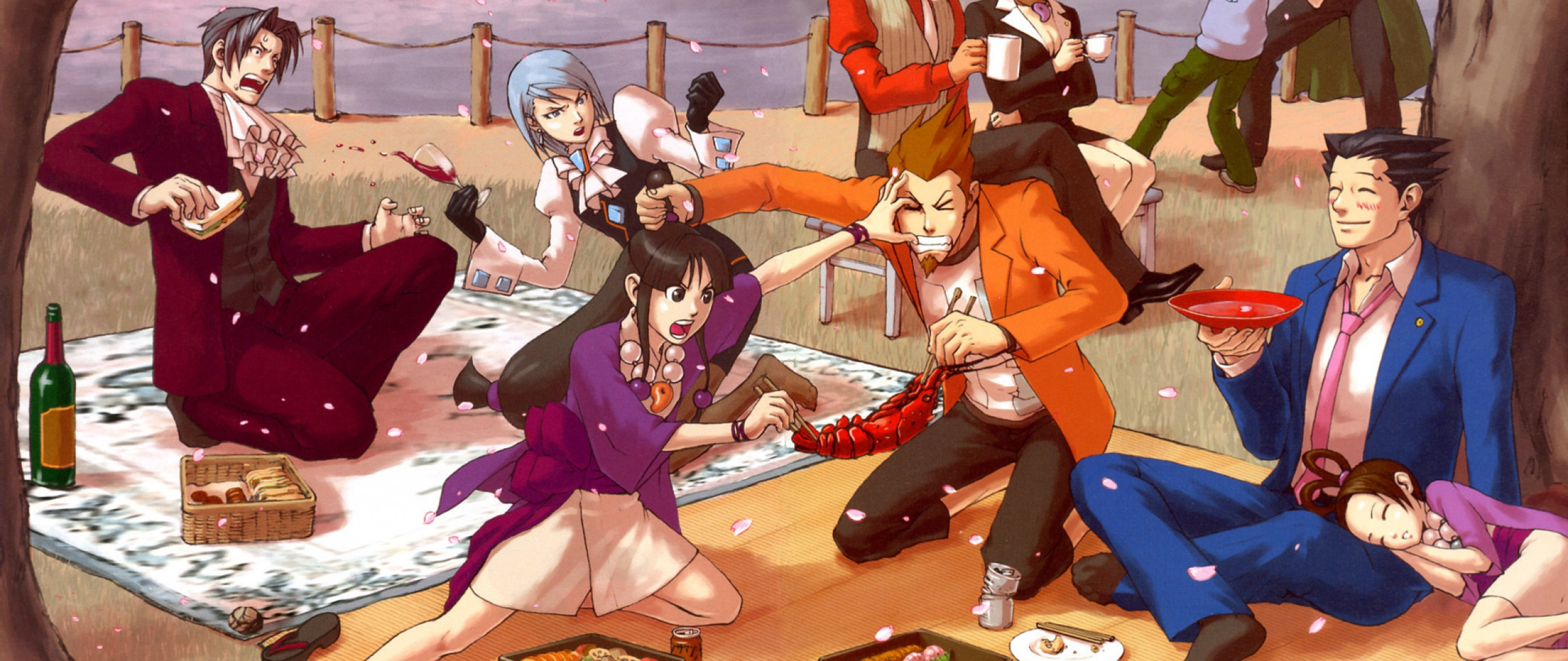 Download Wallpaper 2560x1080 anime picnic emotions food spring 2560x1080