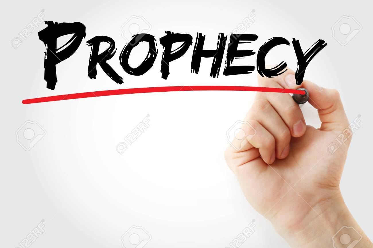 Hand Writing Prophecy With Marker Concept Background Stock Photo 1300x866