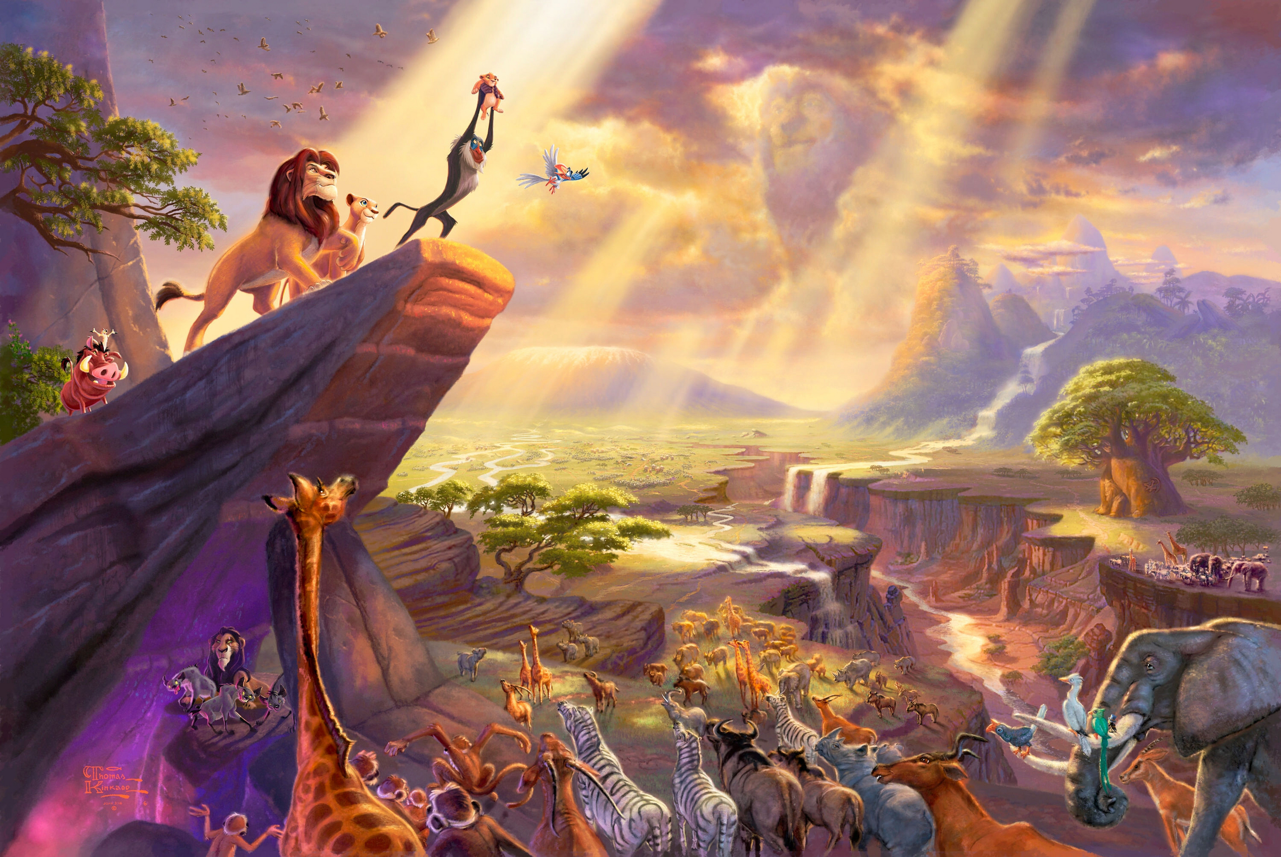 Walt Disney Characters Thomas Kinkades Disney Paintings   The Lion 2560x1713
