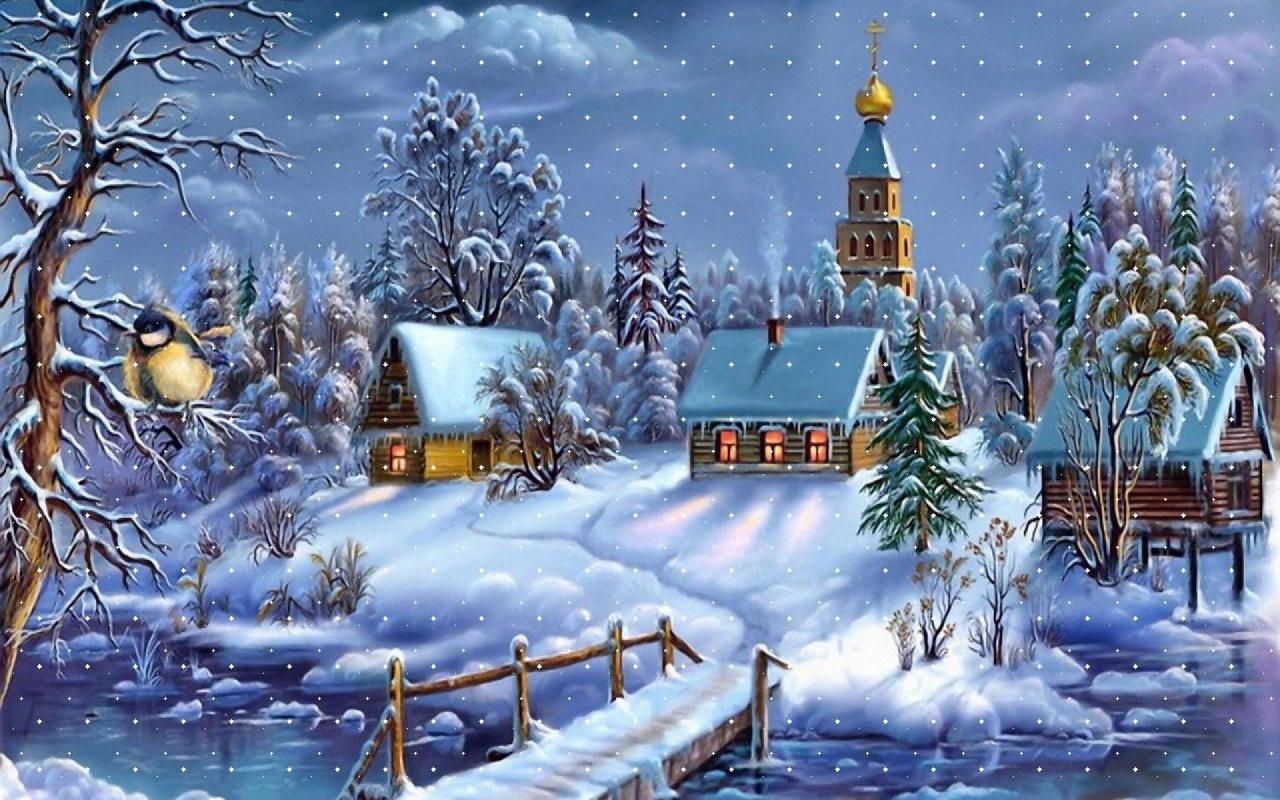 Winter Christmas Scenery 1280x800