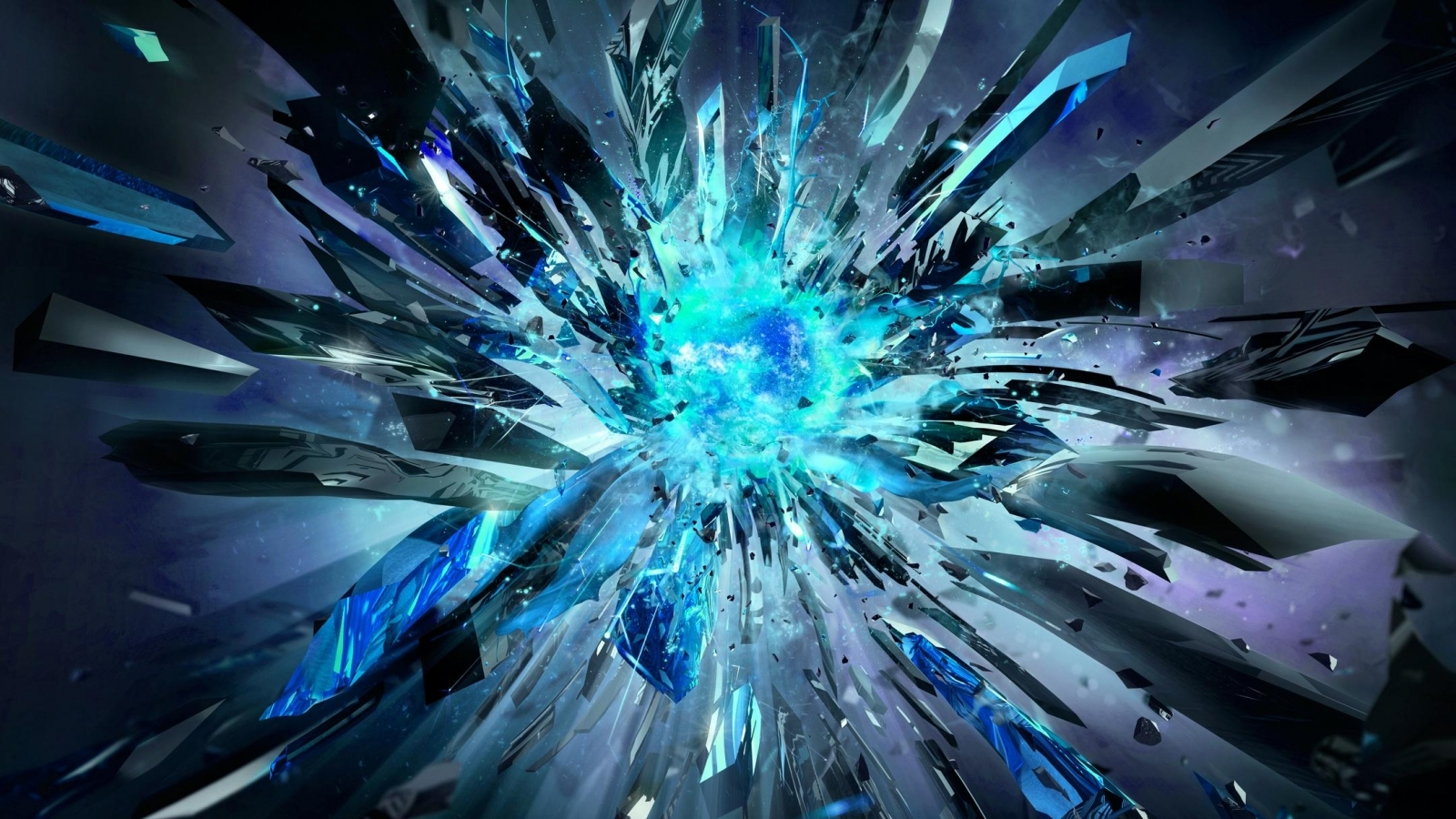 Download Blue Core explosion wallpaper in 3D   Abstract wallpapers 1600x900