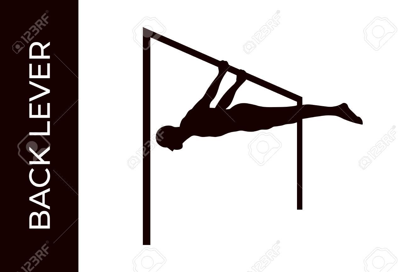 Male Silhouette Doing Calisthenics Back Level Exercise Isolated 1300x866