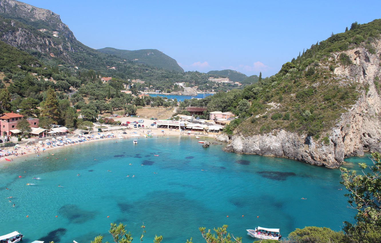 Wallpaper sea beach rocks Bay Greece Bay Paleokastritsa 1332x850