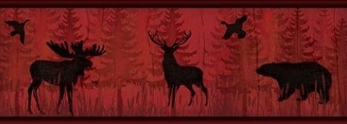 Moose and Bear Wallpaper Border TLL01601B Red Black Rustic Lodge 500x179