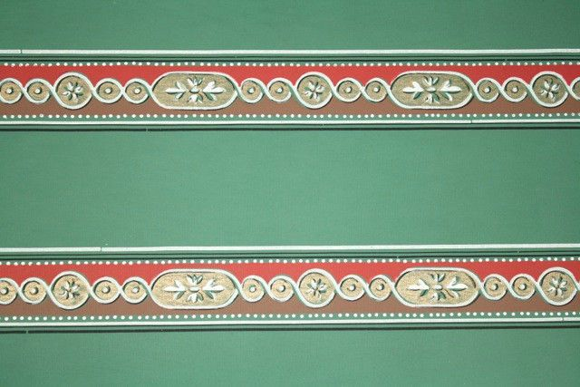Vintage Wallpaper Border   Red and Green Geometric w gold Metalli 640x427