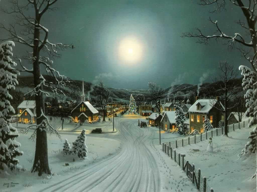Full Moon At Xmas   Christmas Landscapes Wallpaper Image 1024x768